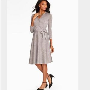 Talbots A-Line Sparkle Wrap Dress Silver Size M